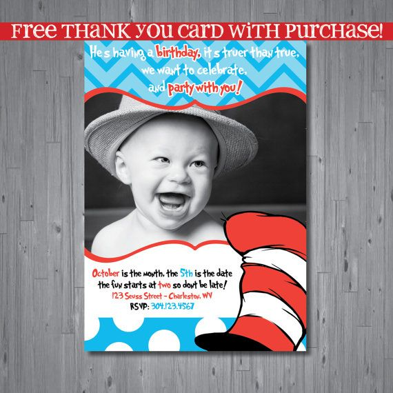 Dr seuss Birthday Invitation, first birthday party invitation, cat in the hat, party invitation printable, FREE thank you card, INSPIRED