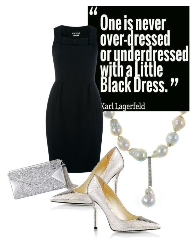 Little Black Dress with Denali Pearls by stacie-vii on Polyvore featuring polyvore fashion style Boutique Moschino Emy Mack BCBGMAXAZRIA clothing
