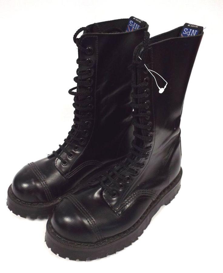 NPS Black Leather Made in ENGLAND 14 Eye Steel Toe Cap Boots UK 5 - B47