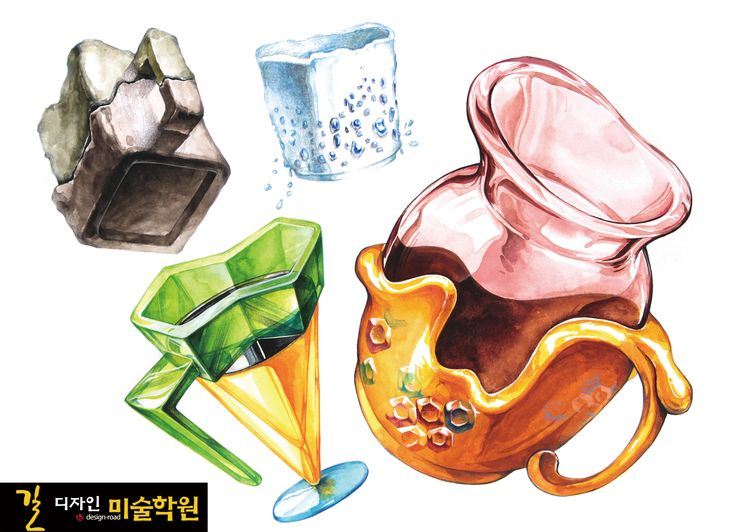 [문제] 단맛, 짠맛, 신맛, 쓴맛을 나타내는 컵을 각각 1개씩 그리시오. *사용재료 : 연필, 색연필, 수채화물감       *답안지는 4절 가로로 사용하시오. *4개의 컵이 서로 겹치거나 화면 밖으로 절단되지 않도록 배치하시오.