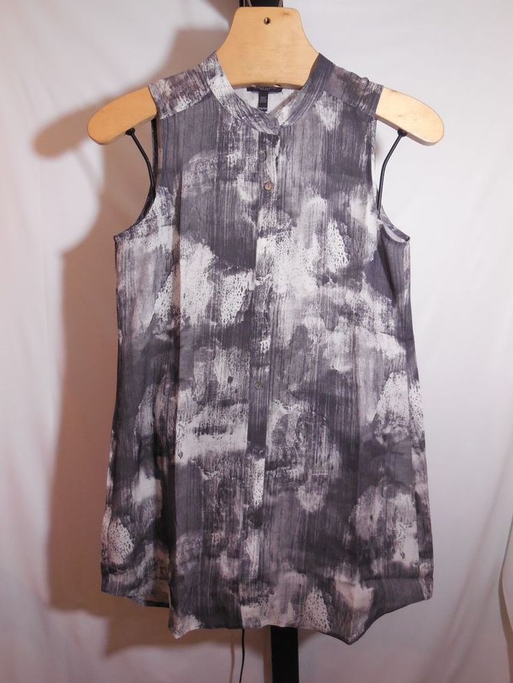 PETITE CHARCOAL MARBLED 100% SILK BLOUSE EILEEN FISHER PM $278 #EileenFisher #Blouse