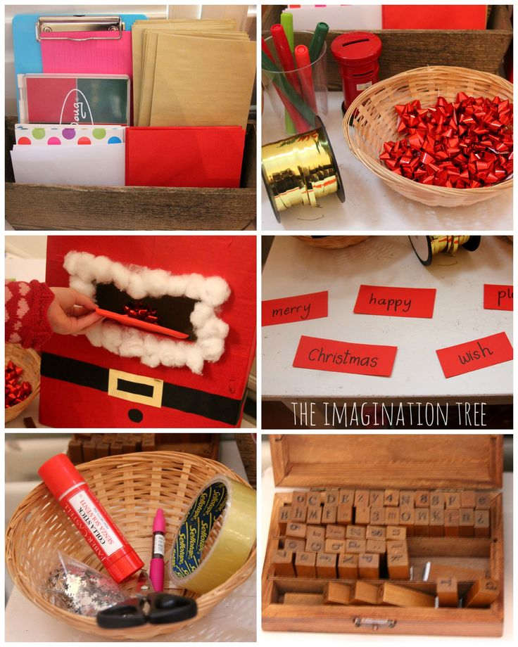 Materials for making a Christmas themed writing area