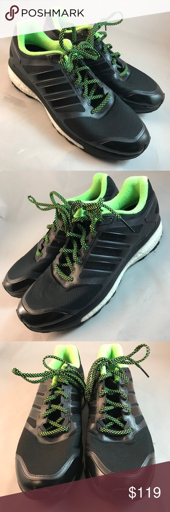 Black Adidas Glide Boost ATR Trail Mens 10, 44 EUR Adidas Glide Boost ATR Trail Mens 10, 44 EUR,  Black water-resistant uppers with lime accents. Trail ready rubber bottom soles. These do not come with the box. They were tried on indoors for about 30 minutes for fitment. Adidas Shoes Athletic Shoes