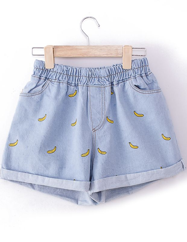 Shop Light Blue Elastic Waist Bananas Embroidered Shorts online. Sheinside offers Light Blue Elastic Waist Bananas Embroidered Shorts & more to fit your fashionable needs. Free Shipping Worldwide! /// US$14.17