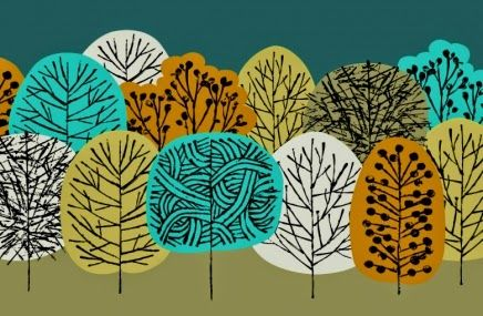 The Lost Sock: fall art project, overlapping trees with sharpies & construction paper & glue