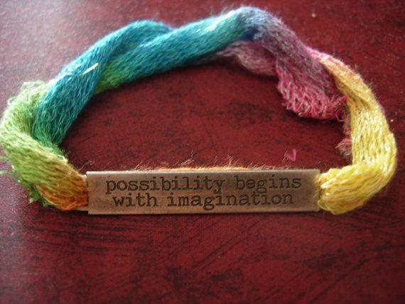 Possibility begins with imagination  Boho art bracelet by eltsamp, $28.00