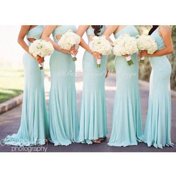 Mint bridesmaids dresses light aqua dresses cut outs for Light blue and white wedding dresses