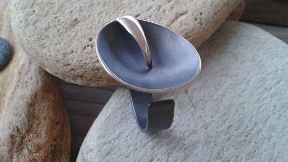 Oval oxidized silver ring modern ring minimalist by Jewelartla