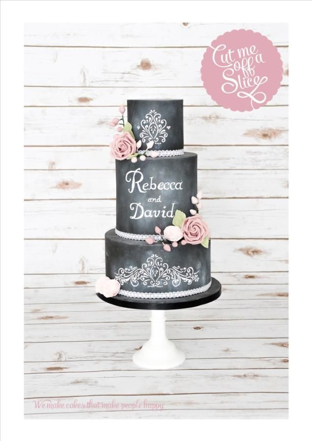 Pretty Chalkboard Wedding Cake with Pink Roses - Cake by cutmeoffaslice
