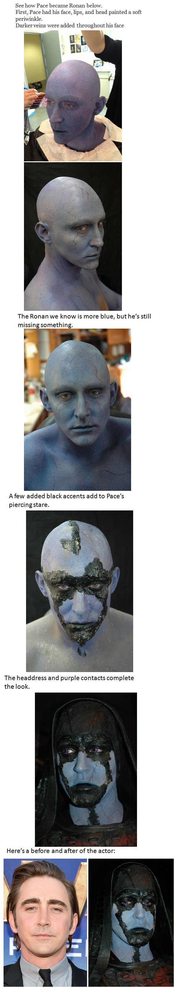 Lee Pace undergoes transformation to play Ronan the Accuer in Marvel's Guardians of the Galaxy.