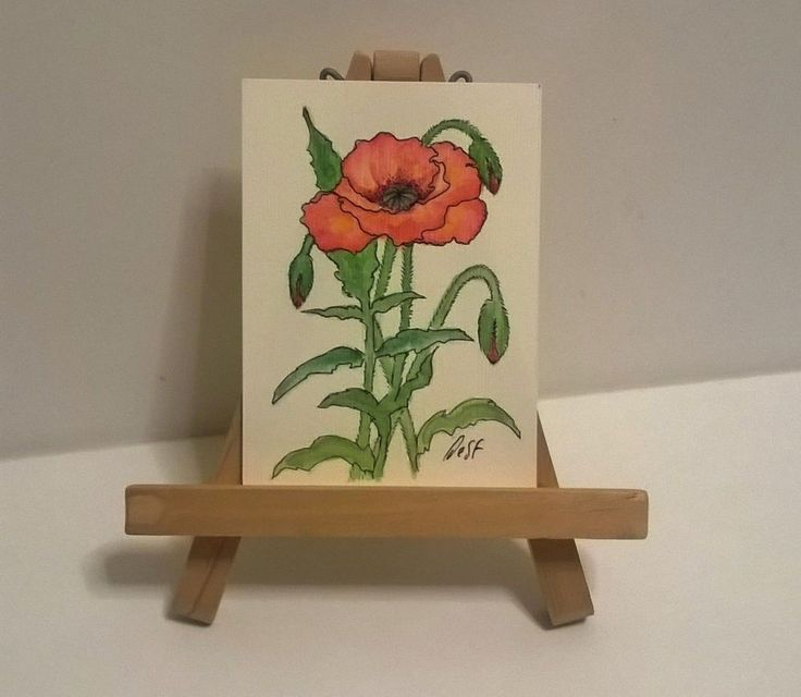 """Poppy"" ACEO Original painting Poppy papaver red flower by Desf #FolkArt"