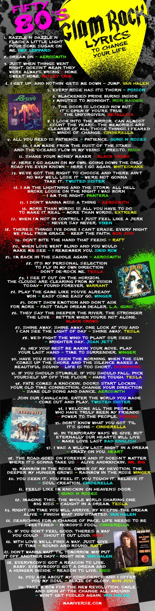 80S Glam rock lyrics to change your life...yes yes yes yes yes and people wonder why this is my favorite music