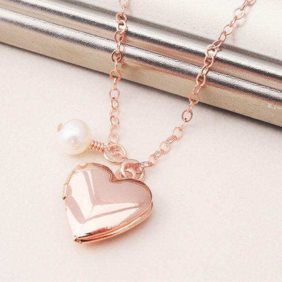Collier coeur en or rose Or Rose collier collier médaillon