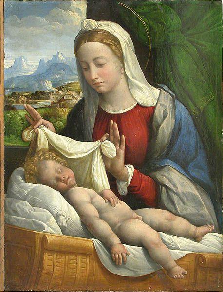 """MAESTRI E ALLIEVI. Benvenuto Tisi, detto il Garofalo (1481-1559) fu tra i principali esponenti della pittura ferrarese del tardo Rinascimento. Fu allievo di Boccaccio Boccaccino, altro pittore di origine ferrarese (ma attivo anche a Venezia, Cremona e Roma) che lo tenne a bottega procurandogli doversi lavori. Un giorno, tuttavia, fuggì lasciando Boccaccino a lamentarsi con suo padre. Nell'immagine: Benvenuto Tisi, detto il Garofalo, """"Madonna con il Bambino"""", Parigi, Musée du Louvre."""