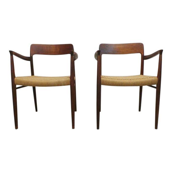 Mid Century J L Moller Danish Modern Teak Framed Rope Seat 56 Arm Dining Chairs By J L Moller Dining Chairs Danish Modern Chair