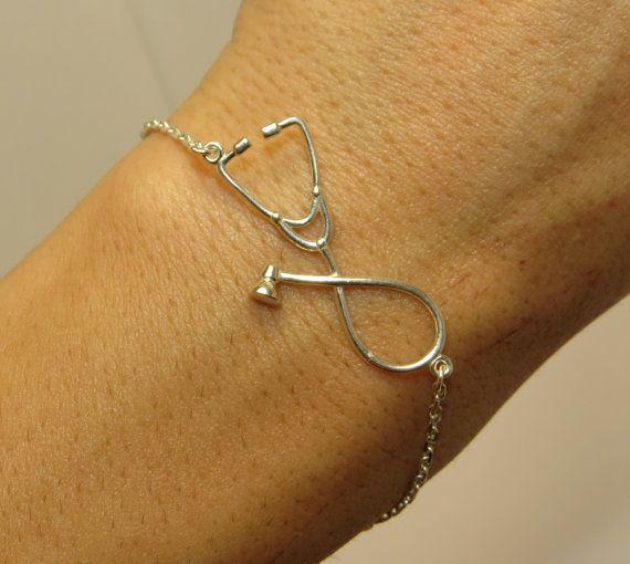 Stethoscope bracelet silver bracelet Gift for by VorobjewStudio