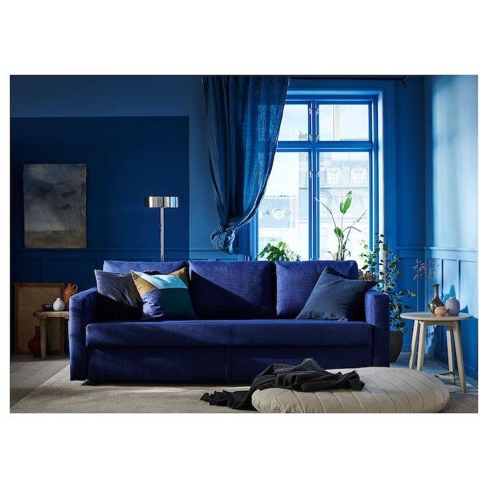 Ikea Friheten Sleeper Sofa In 2020 Blue Velvet Sofa Living Room Sleeper Sofa Sofa Design