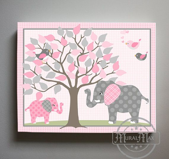 Pink And Gray Elephant Nursery Art Canvas Art Jungle