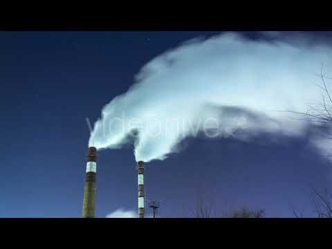 Smoking Chimneys Against the Night Sky and Stars. Air Pollution and the ...