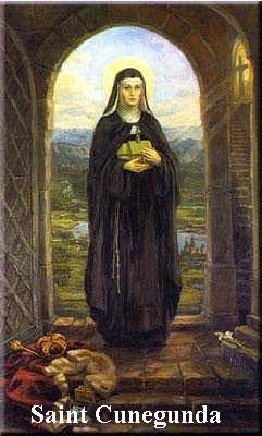 Kunigunde, or Kinga, was born in 13th-century Hungary into a royal family distinguished for its political power as well as its holy women. Her aunts included St. Elizabeth of Hungary, St. Hedwig and St. Agnes of Prague; numbered among her siblings are the Dominican St. Margaret and Blessed Yolande. Read more here: http://www.americancatholic.org/Features/Saints/saint.aspx?id=1450