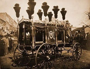 The hearse carrying Abraham Lincoln