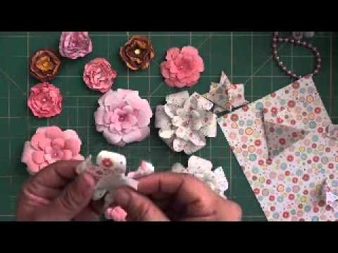 Paper flowers - YouTube...This is quick and easy ,and you can make these really pretty paper flowers!