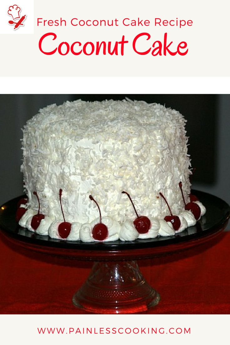 Learn how to make a fresh coconut cake recipe. This cake is baked in 3 eight inch cake baking pans. It is filled with a fresh coconut sauce recipe then it is frosted with a whipped cream frosting.
