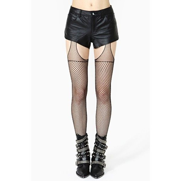 House Of Holland Fishnet True Suspender Tights ($15) ❤ liked on Polyvore featuring intimates, hosiery, tights, doll parts, dolls, leggings, legs, black, fishnet suspender tights and fishnet hosiery