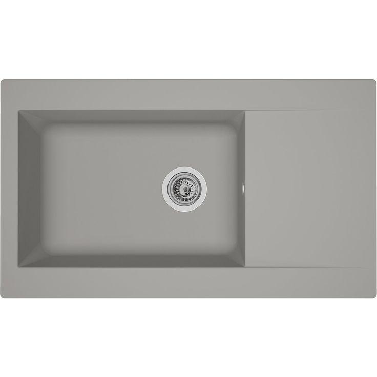 Für Spülenunterschränke ab 60 cm • Reversibel einbaubar ✓ Respekta Mineralite Einbauspüle Denver 86 x 50 cm Betongrau ➜ Granit Einbauspülen bei OBI