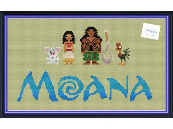 Moana & Friends Cross Stitch DIGITAL PDF pattern by knottybytes. Maui, Pua, Hei Hei, Moana, Disney Cross Stitch Pattern. $5