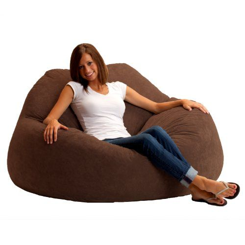 Fuf Chillum Bean Bag Loveseat Comfort Suede Steel Grey Get Cozy With Your Partner In This Comfy