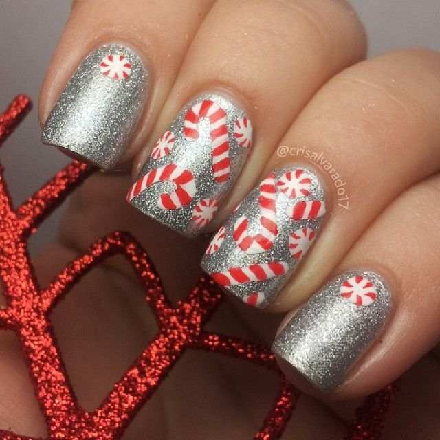 Candy cane nails for 2014 Christmas with silver glitter - Christmas Nail Art  Ideas - Best 25+ Candy Cane Nails Ideas On Pinterest Christmas Nail