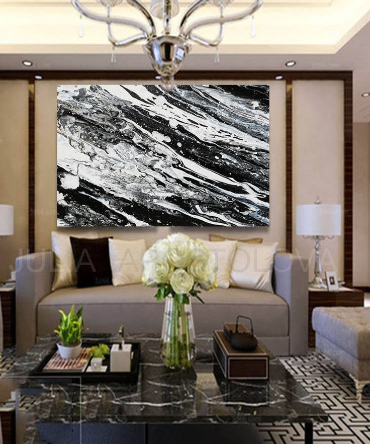 #Black And #White #Canvas #Print #BlackWhite #Abstract #Painting by #JuliaFineArt #Etsy #JuliaApostolova #modern #decor #contemporary