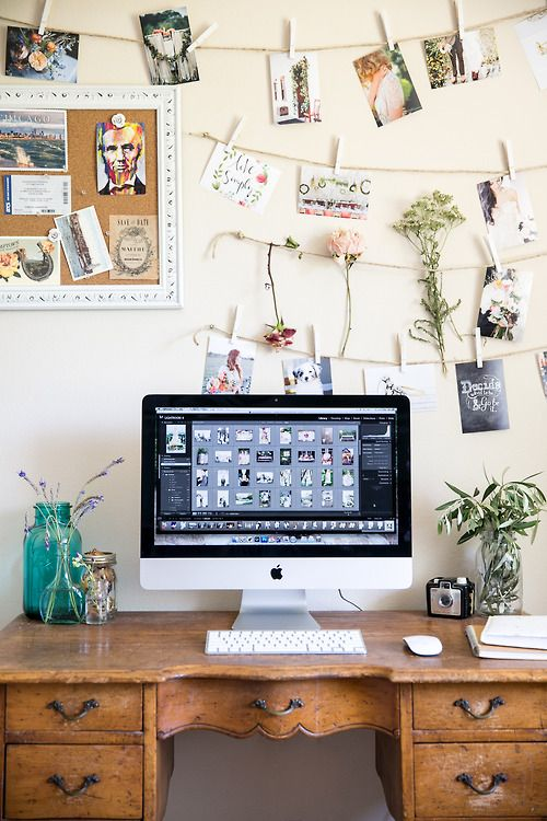 gorgeous wood desk with picture hanging wires
