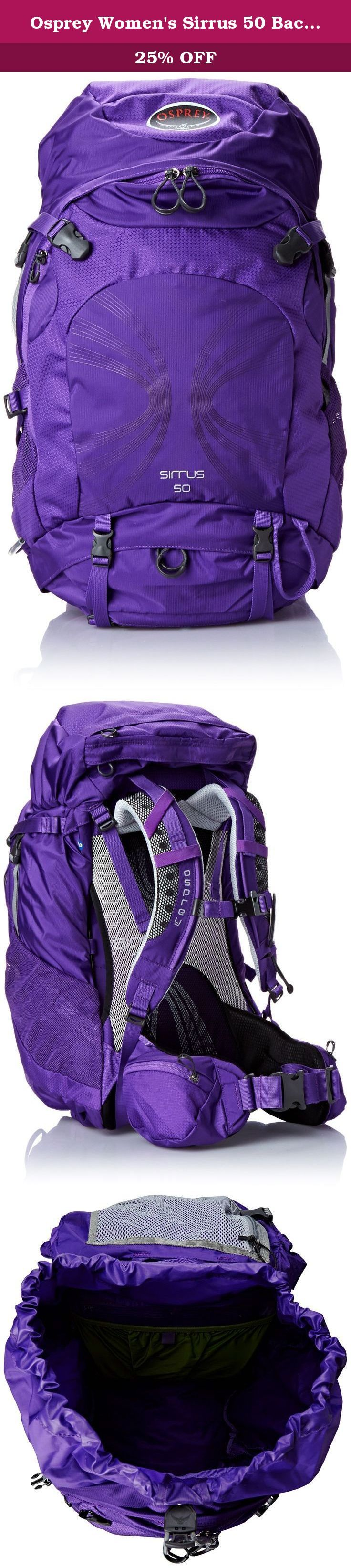 Osprey Women's Sirrus 50 Backpacks, Purple Orchid, Small/Medium. As the largest volume in the Sirrus series, the women's specific Sirrus 50 offers our proven AirSpeed ventilated suspension system in a volume perfect for overnight to weeklong backpacking trips.