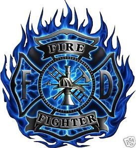 "firefighter+stickers | Fire Rescue Blue Flames Firefighter Decals 6""X7"" 
