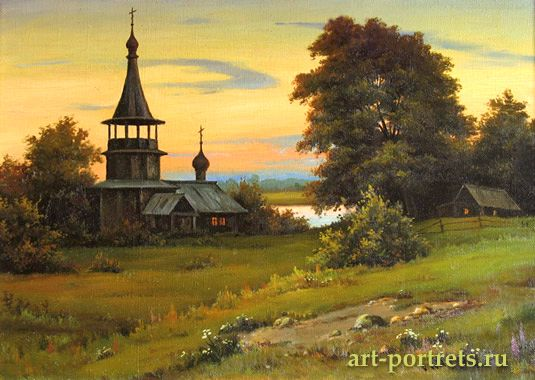Landscape with Church. Summer, but this is the end of August, still warm season, decorated with a beautiful sunset.