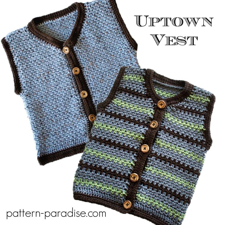 Crochet Pattern for sweater vest for baby, toddler and kids, by pattern-paradise.com. Pattern has other coordinated pieces. #crochet #vest #sweater