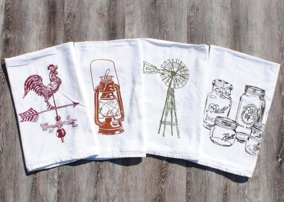 rustic tea towels - set of 4 - screen printed flour sack towels