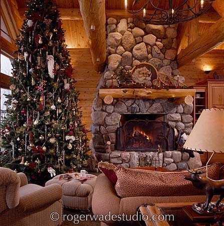 Christmas Fireplace Pictures See More Rustic Log Home
