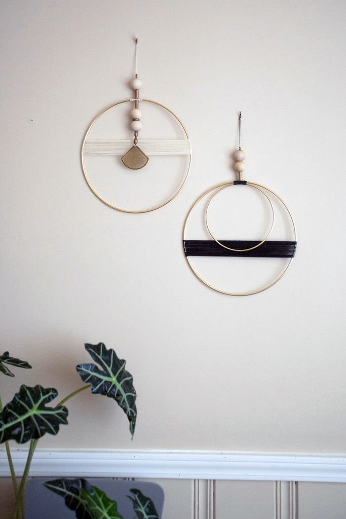 Circle With Brass Triangle And White Thread Wall Hanging by Shades of Grey