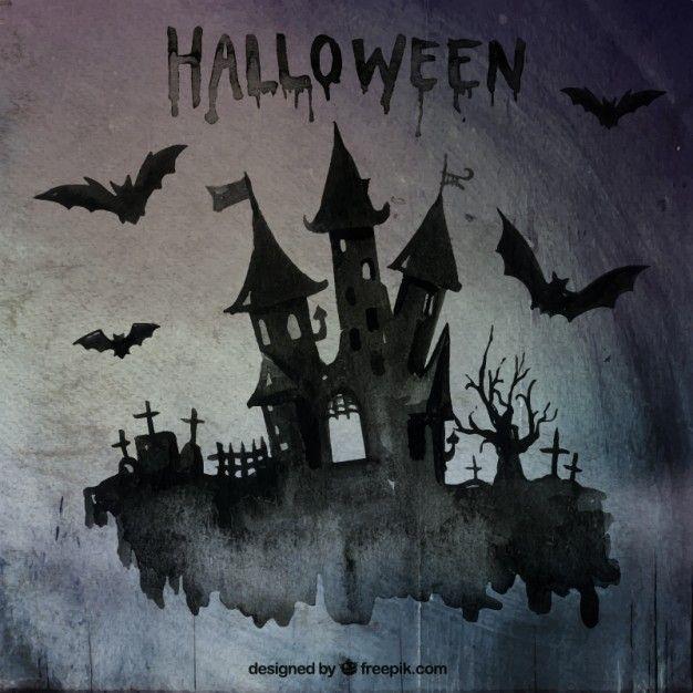 Main château Halloween peinte Vecteur gratuit