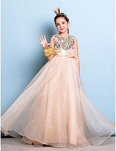 Lanting Bride® Hasta el Suelo Organza / Lentejuelas Vestido de Dama de Honor Junior Corte en A Joya Natural conFlor(es) / Cinta / Lazo /