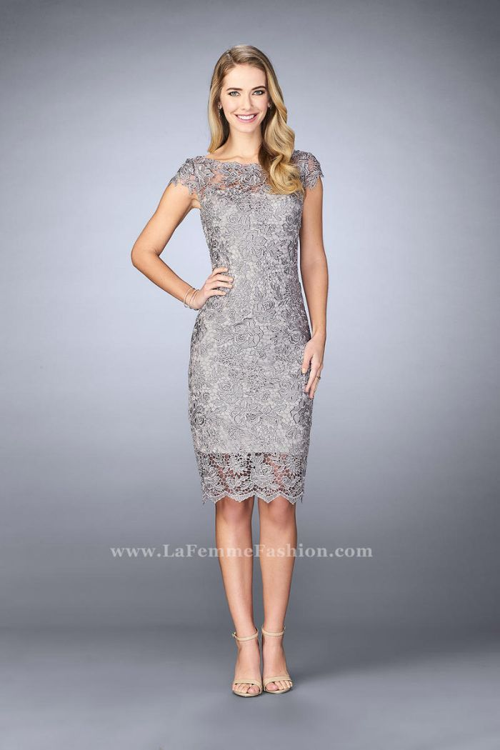 b171da8058 Size 8 Slate Blue La Femme 24861 Short Lace Mothers Dress  French Novelty