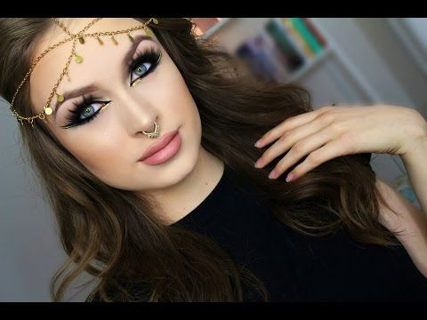 Green & Gold Arab inspired makeup tutorial - YouTube
