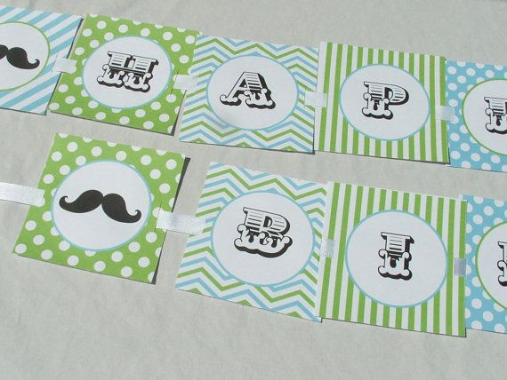 Boy First Birthday Mustache Decorations Package by BusyChickadees