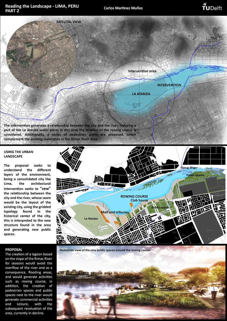 """WEEK 3, this is the part two of the assignment, showing the proposal of rowing course formed as an extension of the Rimac River, this """"new lagoon"""" serve as a prevention from floodings."""