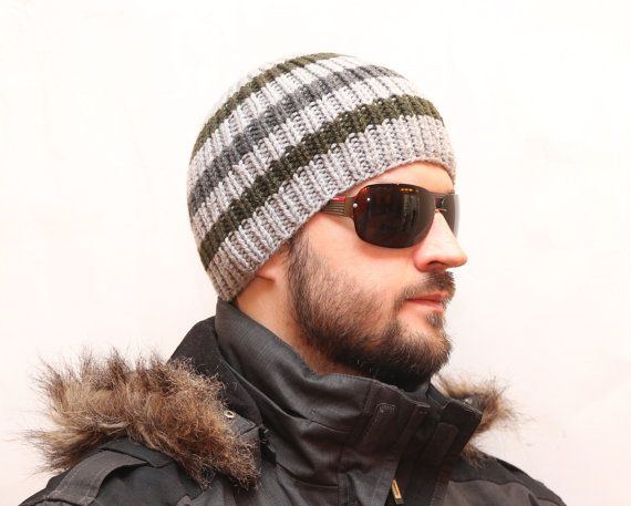 Knit Hat Mens knit Hat Winter Hat Slouchy Beanie by warmpresents