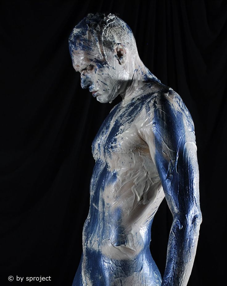 from a distance © by sproject.de #male #art #maleart #lowkey #studio #photography #bodypainting #actionpainting #gay #gayart #fineart #fromadistance #blue #sproject #2014