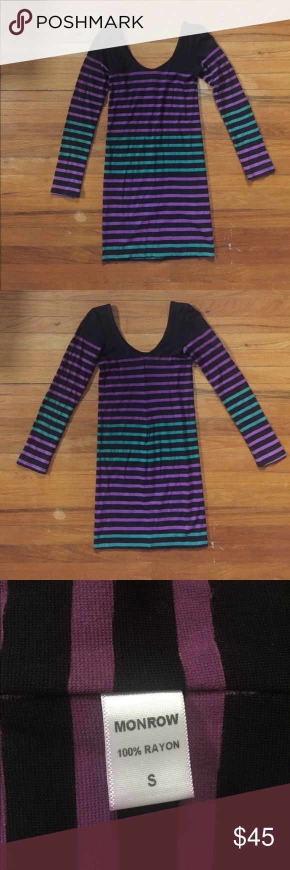 Monrow Striped Scoopneck Dress | Size S Slimming/tight long sleeve dress from Monrow. Thick/heavy material (100% Rayon). Good condition. Slight discoloration near underarms, barely noticeable unless you're looking for it. Great for going out, figure flattering. No rips. Monrow Dresses Mini